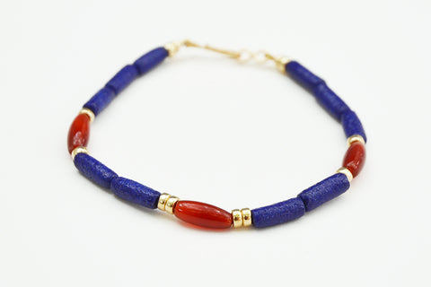 Cobalt Blue and Carnelian Bracelet