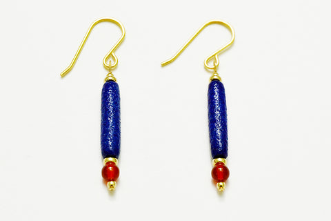 Cobalt Blue Egyptian Paste Earrings