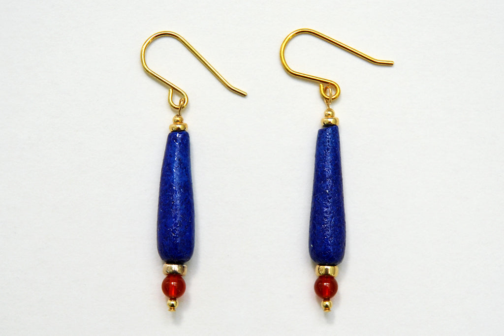 Cobalt Blue Teardrop Egyptian Paste Earrings