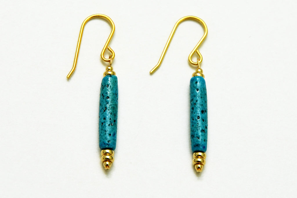 Turquoise and Gold Egyptian Paste Earrings