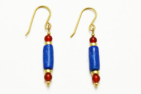 Cobalt Blue Egyptian Paste cylinder bead Earrings
