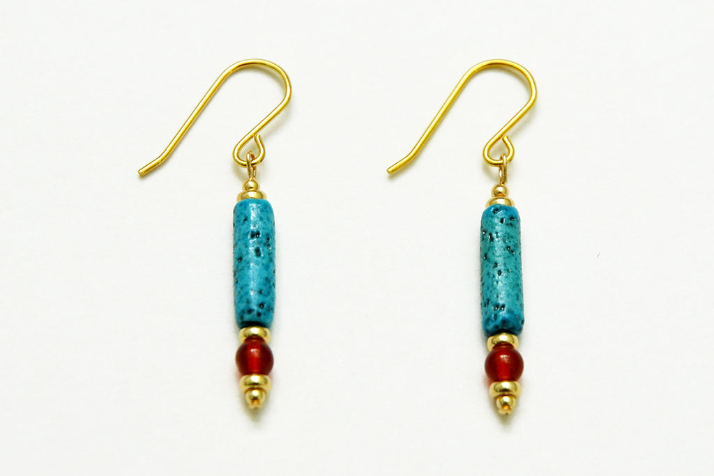 Turquoise and Carnelian Egyptian paste Earrings