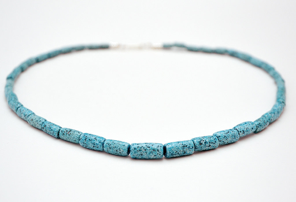 Textured Egyptian Paste and Sterling Silver Necklace