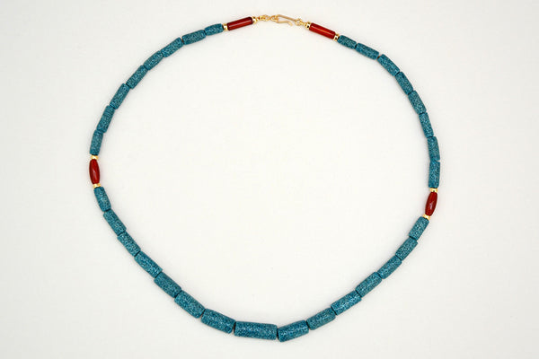 Textured Egyptian Paste and Carnelian Necklace