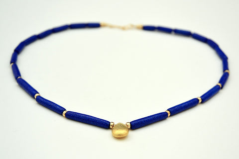 Cobalt Blue Egyptian Paste Necklace with Single Gold Vermeil Pendant