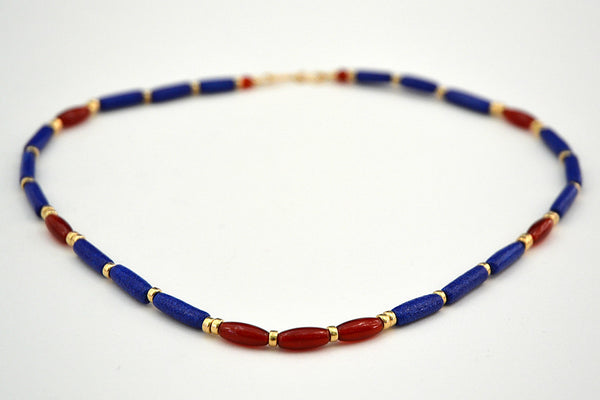 Cobalt Blue and red carnelian Egyptian Paste Necklace