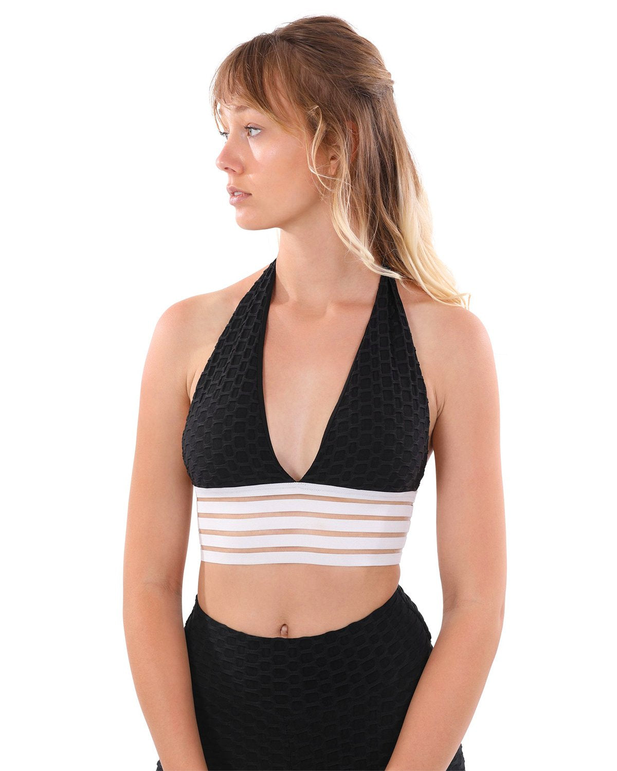 Bentley Halter-Neck Sports Bra - Black  & White
