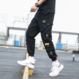Men's Side Pockets Cargo Harem Pants 2020 Ribbons Black Hip Hop Casual Male Joggers Trousers Fashion Casual Streetwear Pants