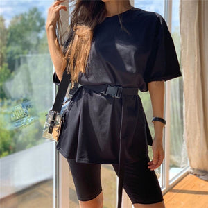 Casual Solid Outfits Women's Two Piece Suit With Belt Home Loose Sports Tracksuits Fashion Leisure Bicycle Suit Summer