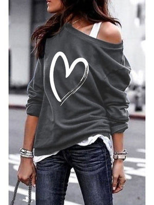 Yskkt Women's Pullover Sweatshirt Heart Printed Long Sleeve One Shoulder Tops Autumn Winter Sweat Shirts Woman Casual Top