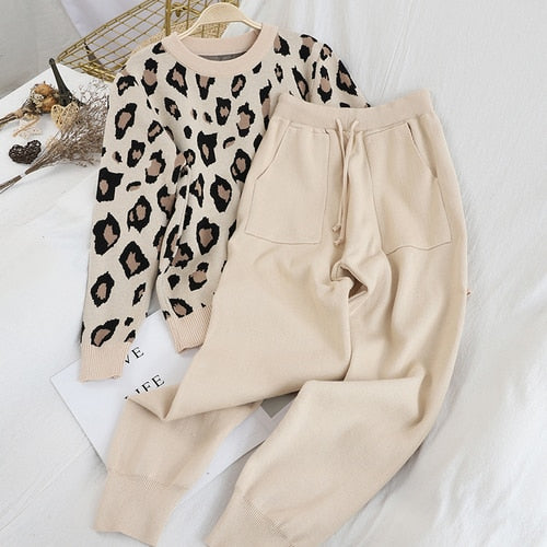 Fashion Retro Women Knitted Suits Leopard Long Sleeve O-neck Sweater + Lace Up Waist Pocket Harem Pants Korean Sets