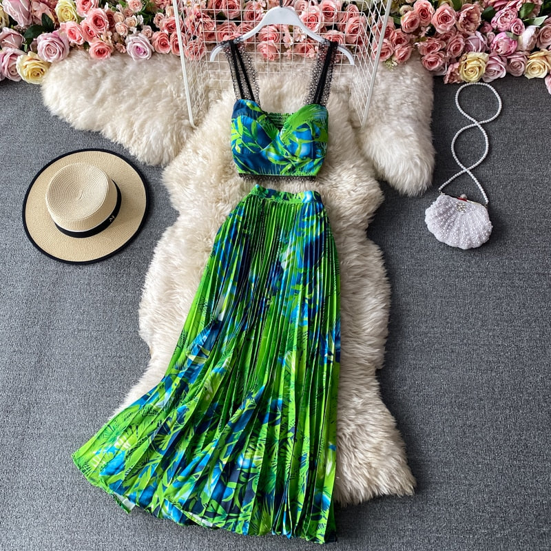 Bohemian Vacation Beach 2pcs Set Women Floral Printed Short Strapless Tops And High Waist Pleated Long Skirt Suit Spring Summer
