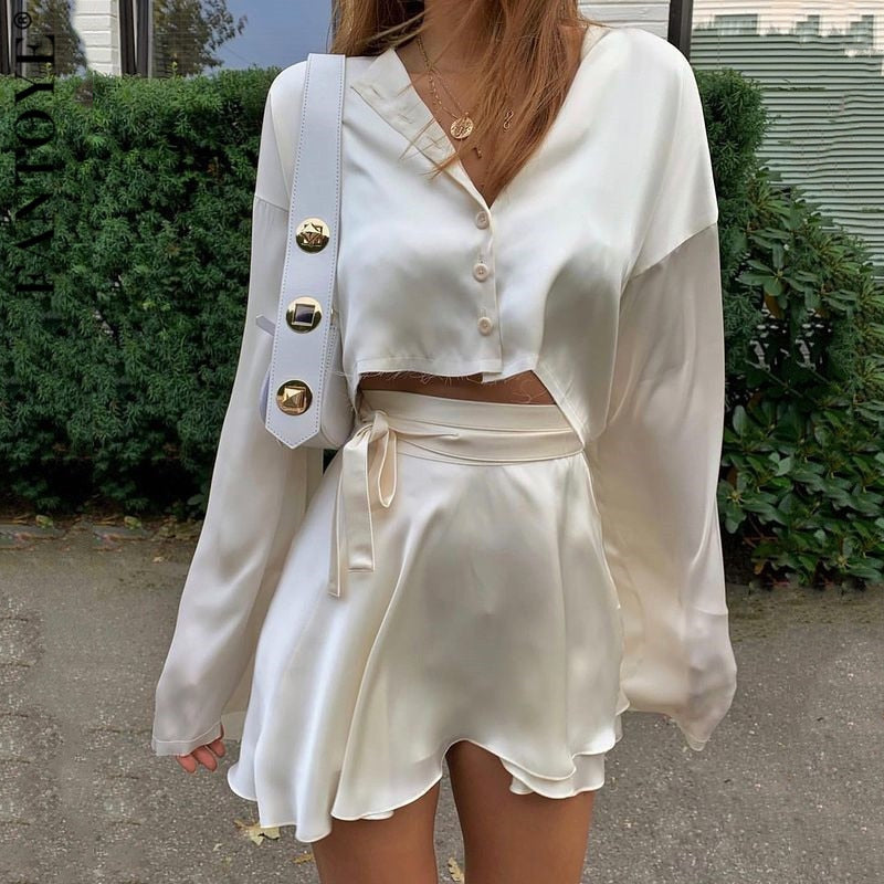 Fantoye Casual Satin Two Piece Dress Set For Women White O-neck Button Top Bandage Mini Pencil Skirts Outfits Fashion Party Suit