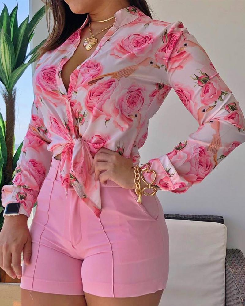 Women Long Sleeve Floral Printed Tie Knot Top Blouse Casual Spring Shirts Female