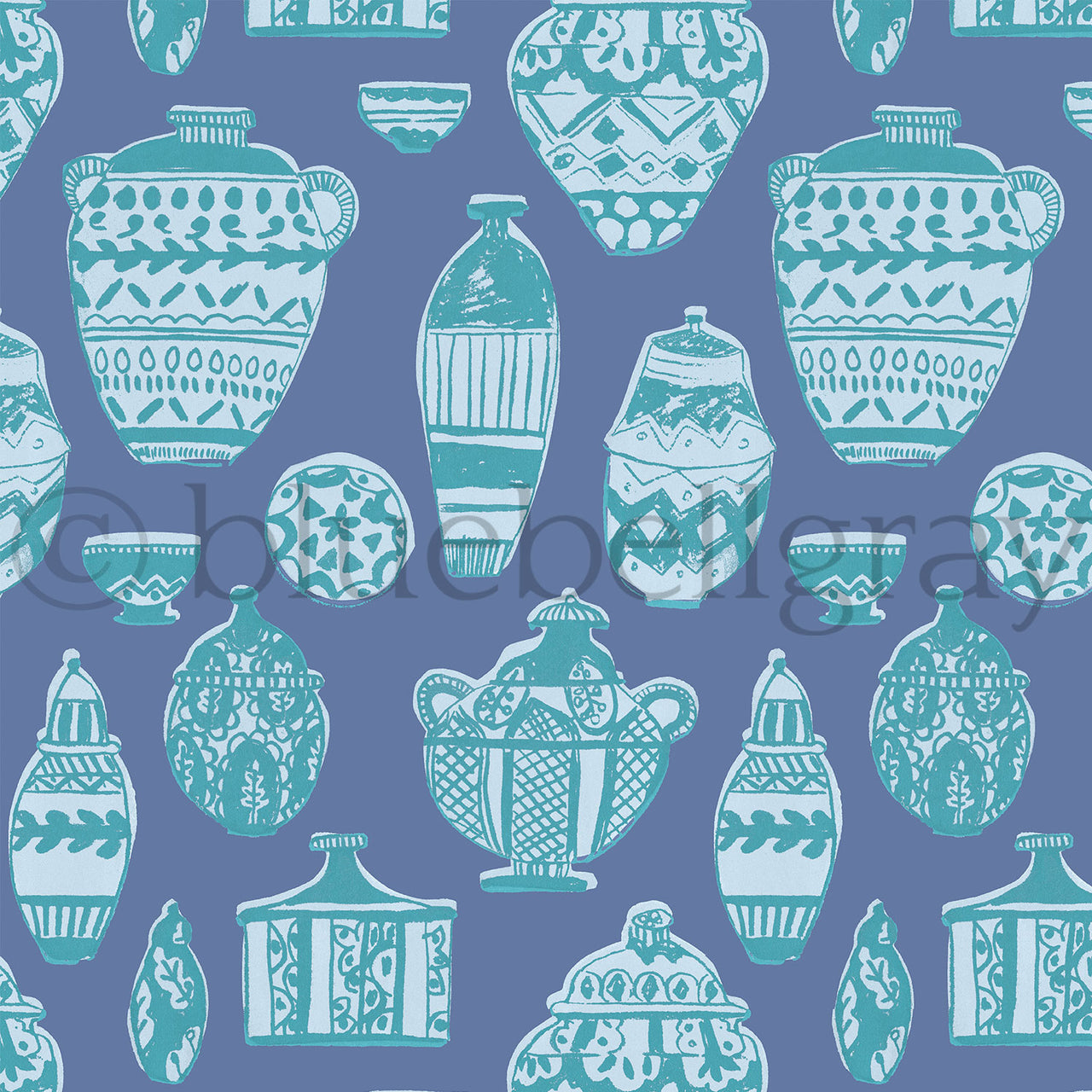Blue Pots Fabric