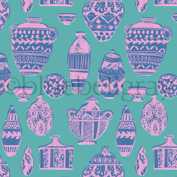 Pink Pots Fabric