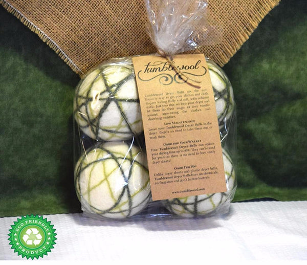Wool Dryer Balls - 100% Wool - Green 4-Pack