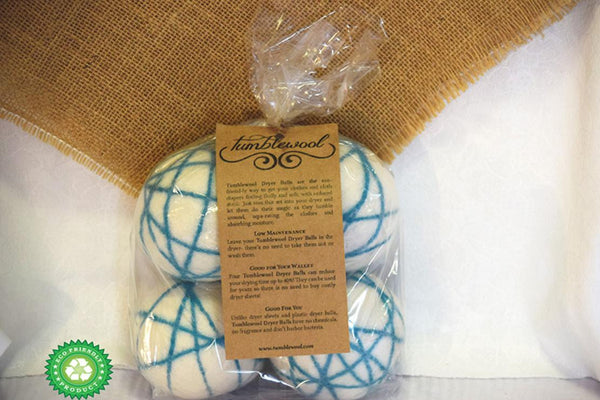 Wool Dryer Balls - 100% Wool - Teal 4-Pack