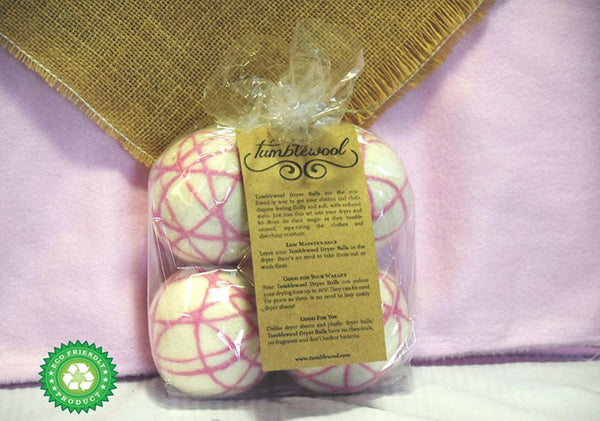 Wool Dryer Balls - 100% Wool - Pink 4-Pack