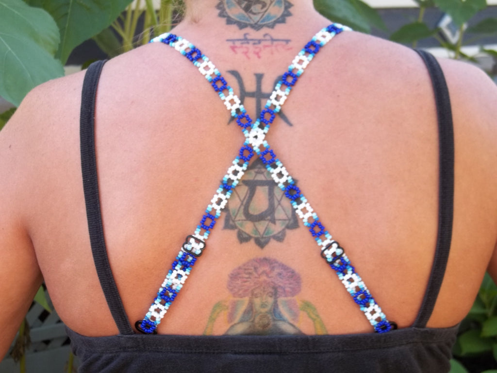 Blue Ombre Adjustable Beaded Bra Straps DIY Kit
