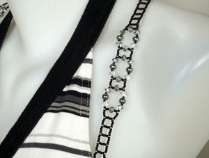 Swarovski Silver Night Adjustable Beaded Bra Straps DIY Kit