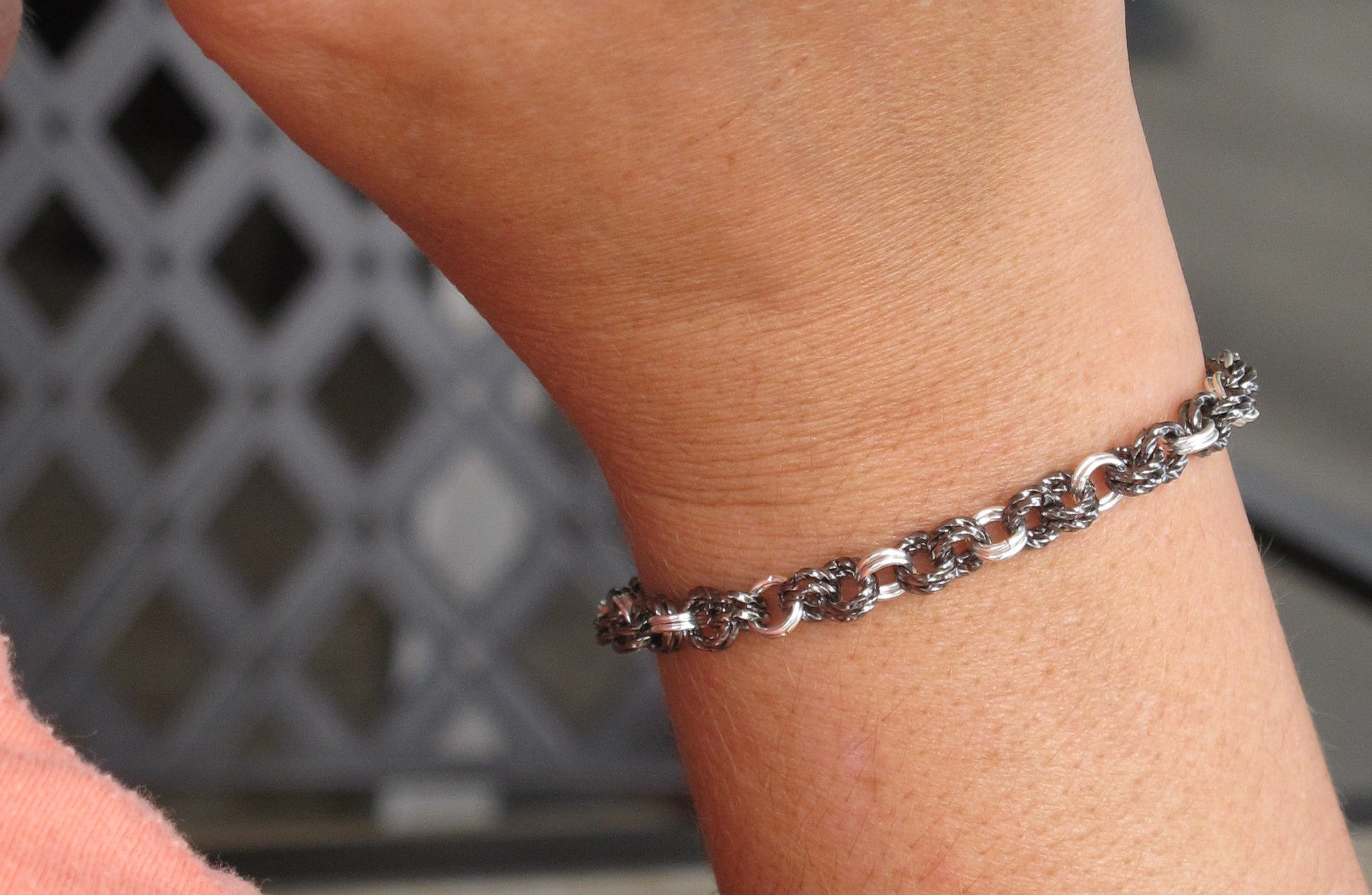 DIY Twisted Chain Mail Gunmetal and Silver Bracelet Kit