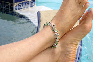 DIY Shaggy Loop Chain Mail Beaded Ankle Bracelet