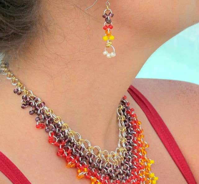 Epic Sunrise Earrings Chainmaille DIY Kit