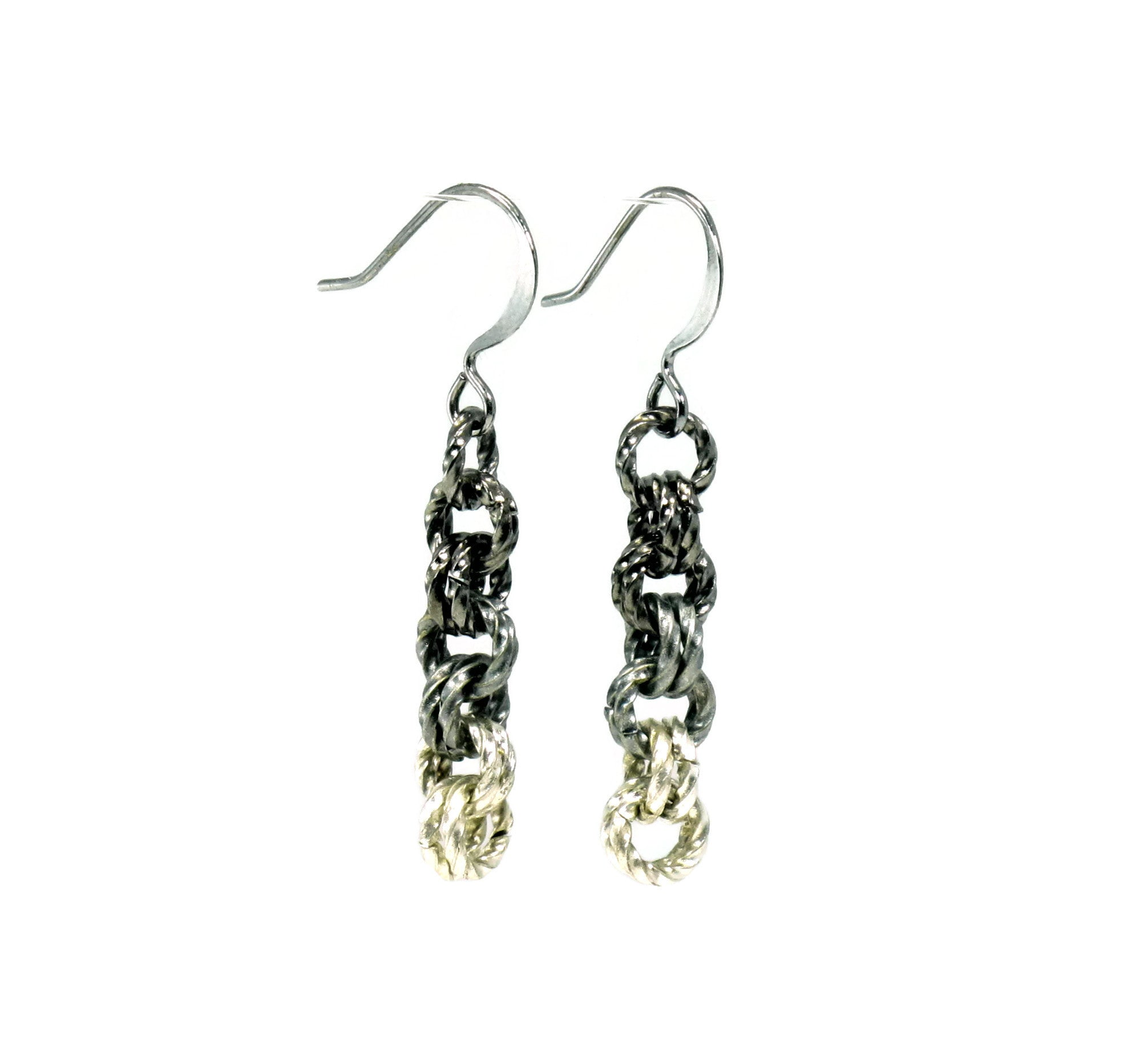 DIY Chain Mail Gunmetal Antique Silver Ombre Earrings Kit