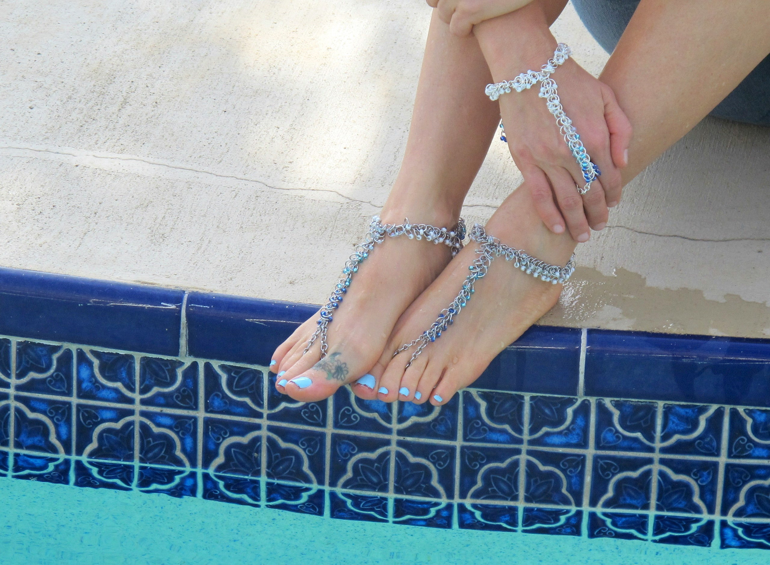 DIY Hath Panja Slave Bracelet Barefoot Sandals Beaded Chain Mail Kit