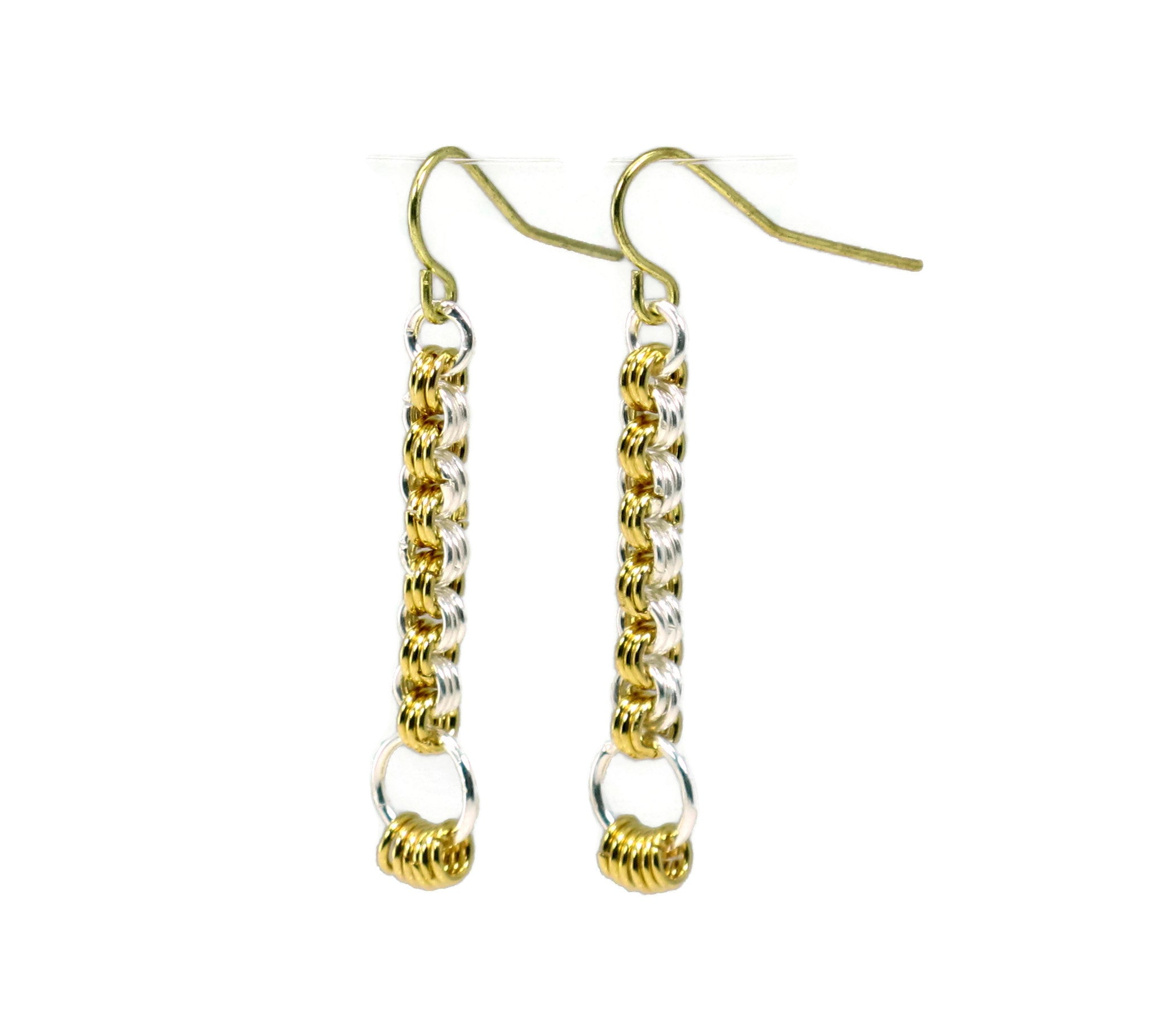DIY Chain Mail Silver and Gold Pillar Earrings Kit