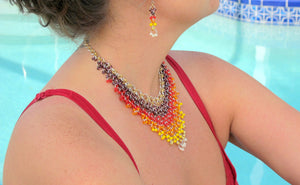 DIY Chain Mail Epic Sunrise Beaded Necklace and Earrings Set