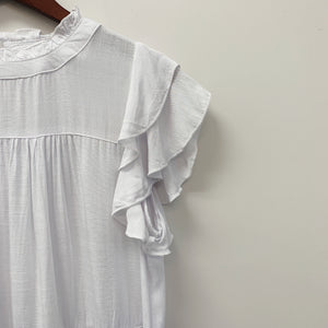 The Shelly Ruffle Knit Blouse | White |