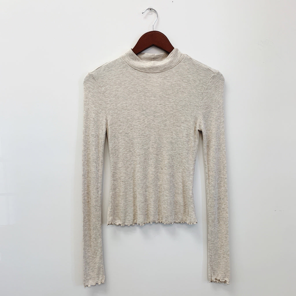 The Ella Mock Neck Top | Oatmeal |