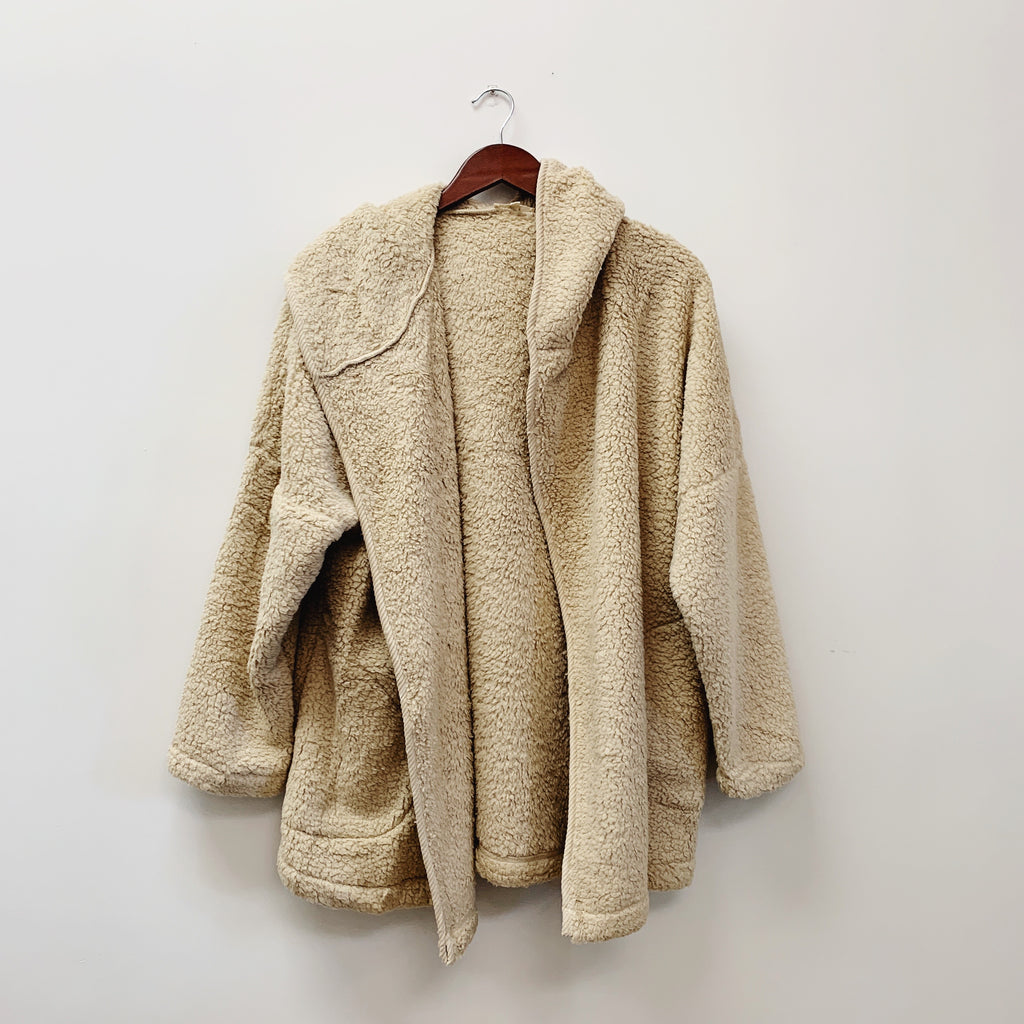 The Theo Teddy Hoodie Jacket | Beige |