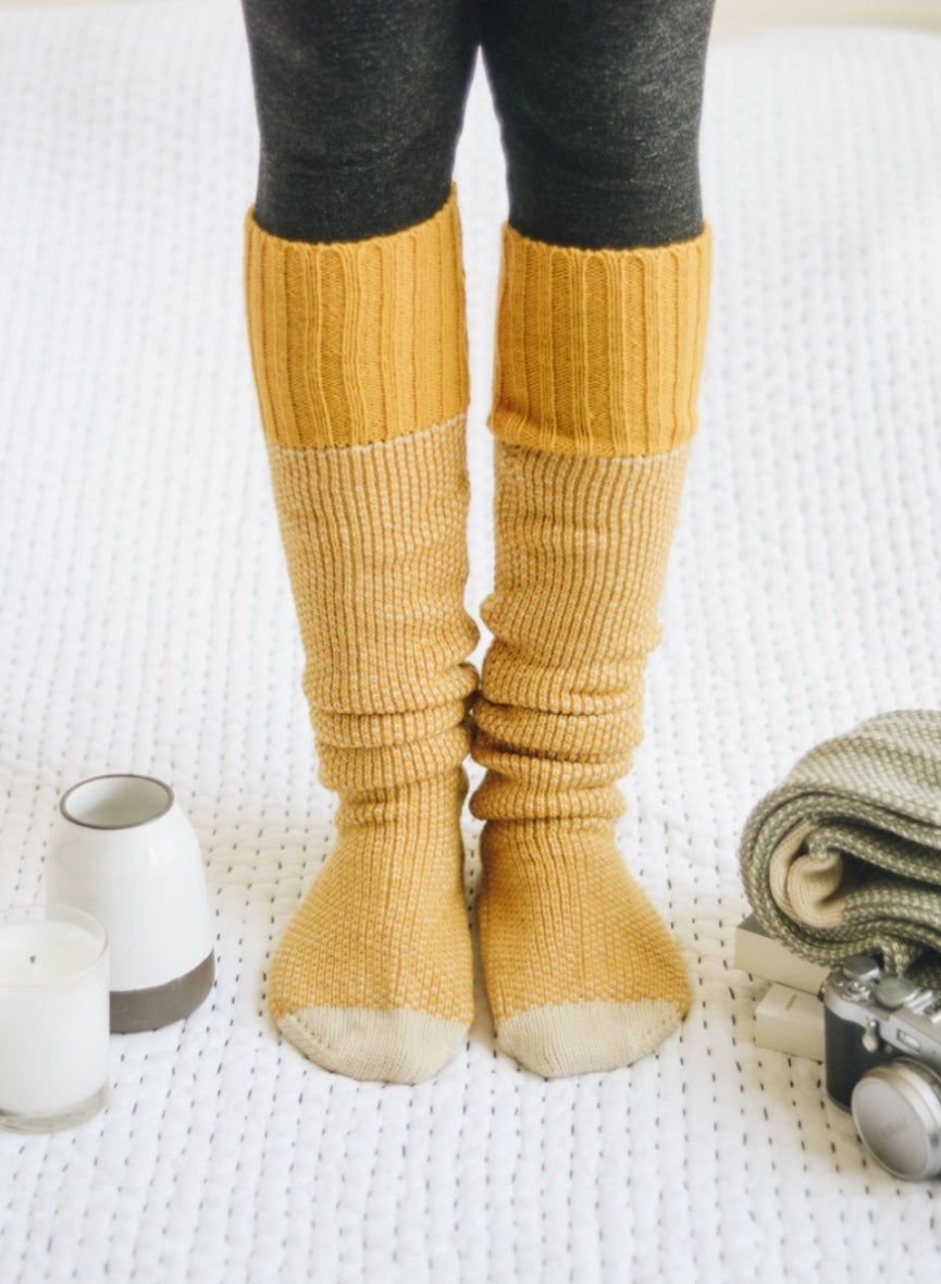 Cable Knit Lounge Socks | Mustard |
