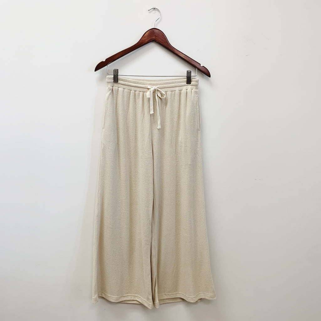The Ollie Ribbed Wide Leg Pants | Oatmeal |