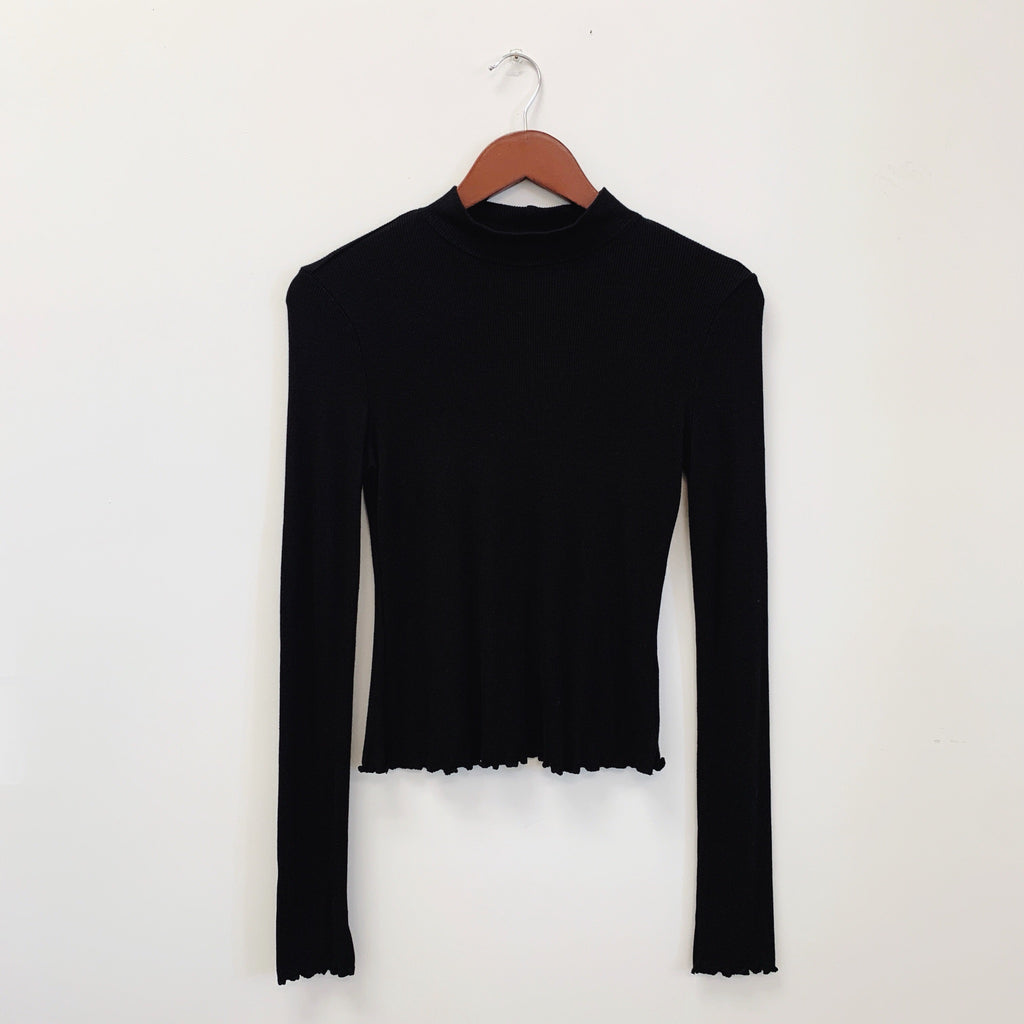 The Ella Mock Neck Top | Black |
