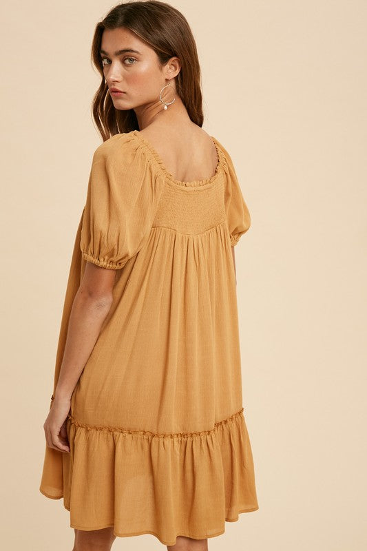 The Autumn Smocked Ruffled Dress | Earthen Gold |