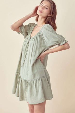 The Maisy Tie Front Dress | Sage |