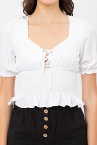The Luci Rayon Cropped Top | White |