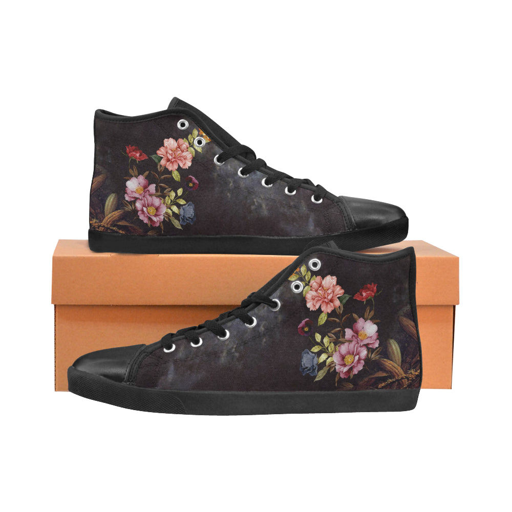 DARK FLORAL High Top Canvas Women's Shoes/Large Size (Model 002)
