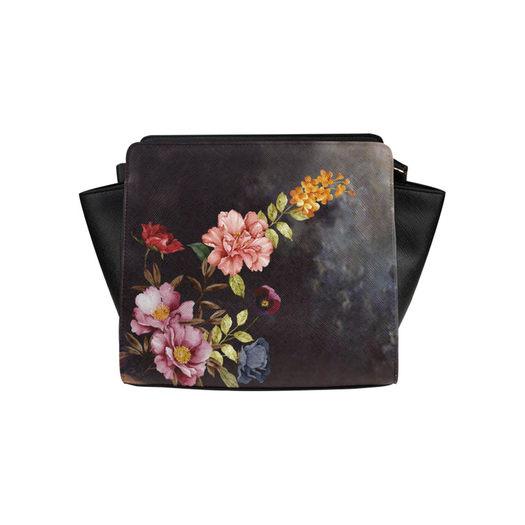 DARK FLORAL Satchel Bag (Model 1635)