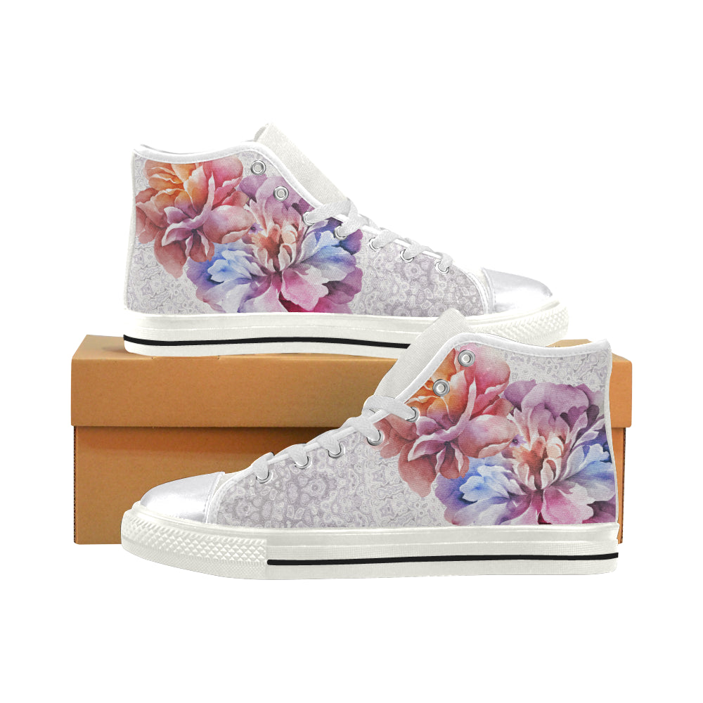 flower field Women's Classic High Top Canvas Shoes (Model 017)