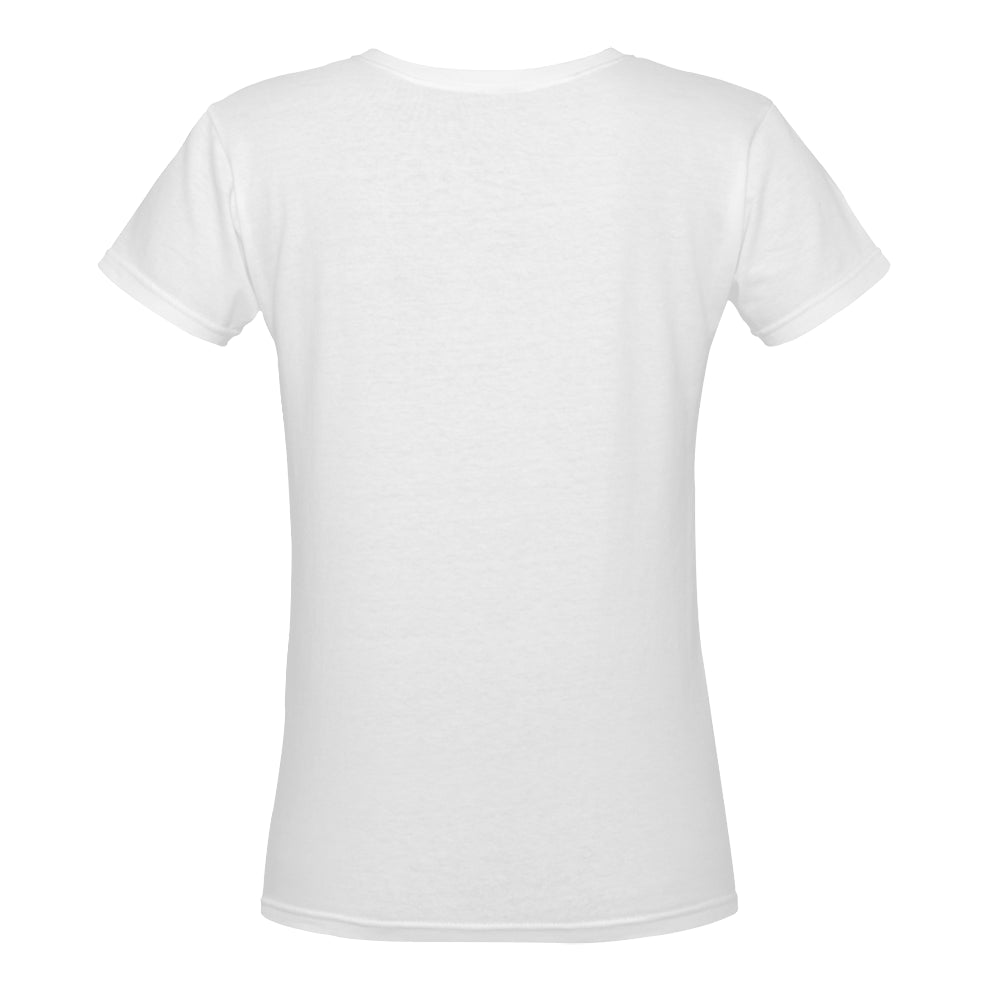 blue bird Women's Deep V-neck T-shirt (Model T19)