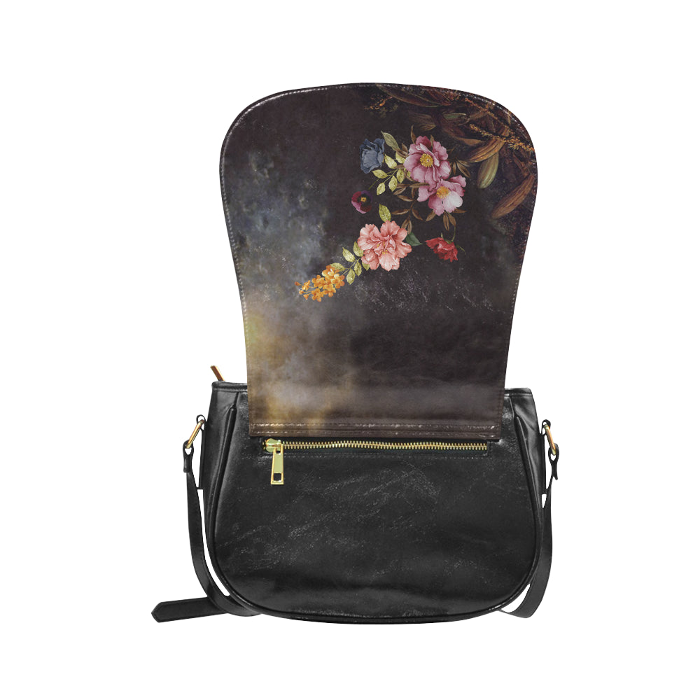 DARK FLORAL Classic Saddle Bag/Small (Model 1648)