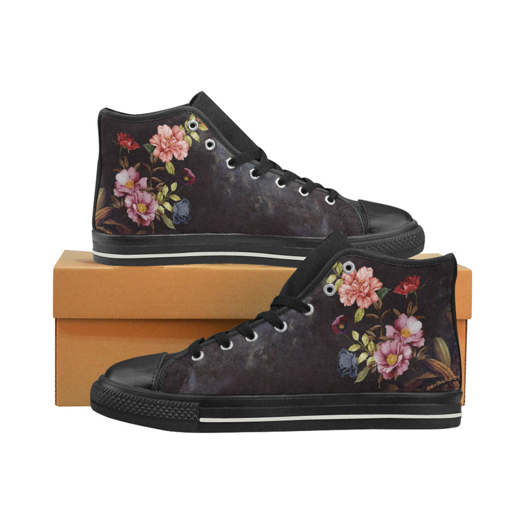 DARK FLORAL Women's Classic High Top Canvas Shoes (Model 017)