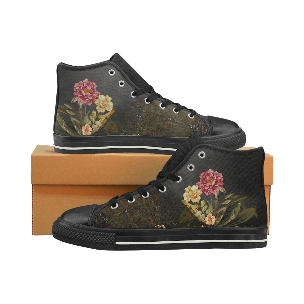 DARK FLORAL WITH TREE High Top Canvas Women's Shoes/Large Size (Model 017)