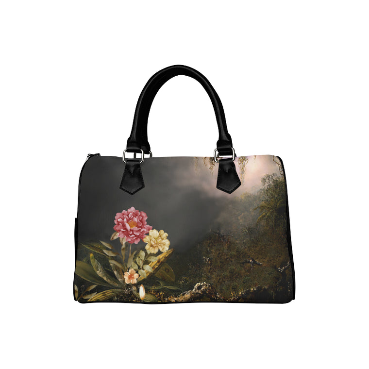 DARK FLORAL WITH TREE Boston Handbag (Model 1621)
