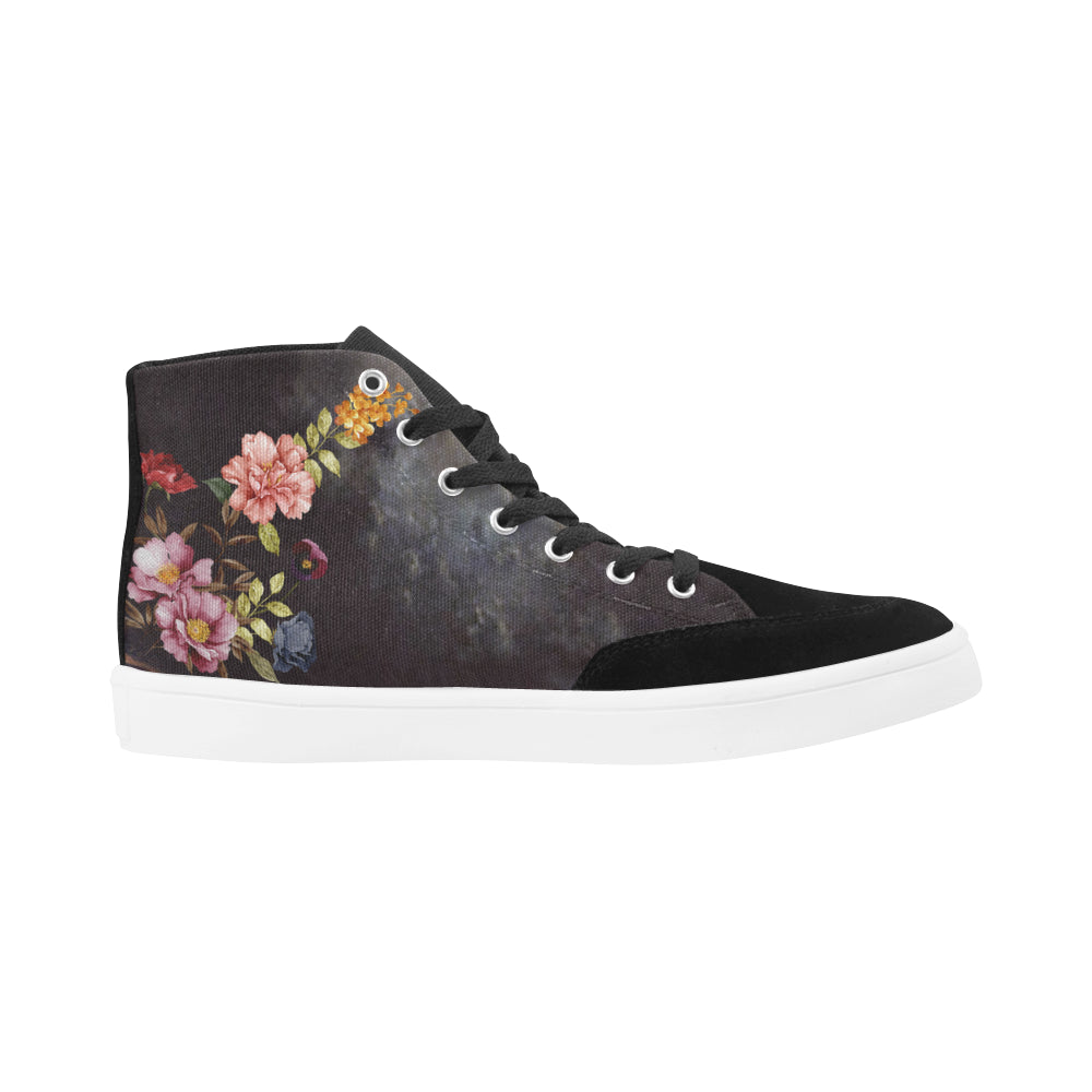 DARK FLORAL Herdsman High Top Shoes for Women (Model 038)